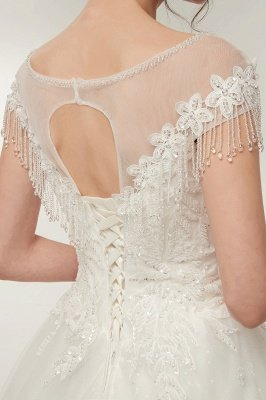 YVETTE | A-line Cap Sleeves Scoop Floor Length Lace Appliques Wedding Dresses with Crystals_4