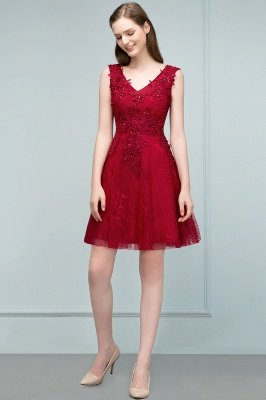 JULIA | A-line Sleeveless Short V-neck Lace Appliqued Tulle Prom Dresses_4