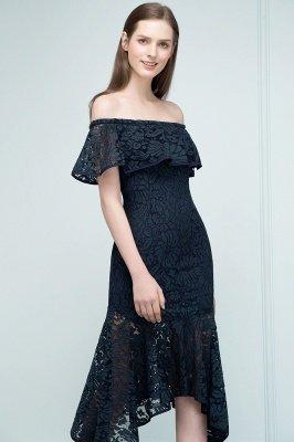 VERENA   Mermaid Off-shoulder Tea Length Black Lace Prom Dresses_7
