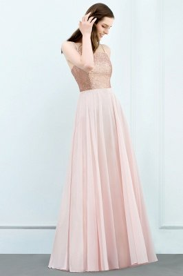 JORDYN | A-line Floor Length Spaghetti Sequined Top Chiffon Prom Dresses_5