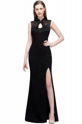 VERA | Mermaid Sleeveless Keyhole Neckline Floor Length Lace Prom Dresses with Crystals_1