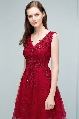 JULIA | A-line Sleeveless Short V-neck Lace Appliqued Tulle Prom Dresses_6