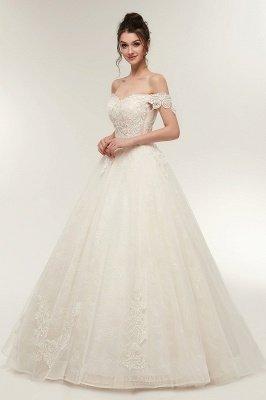 ZOLA | A-line Off-плечо Милая Длина пола Кружева Appliques Свадебные платья с Lace-up_8