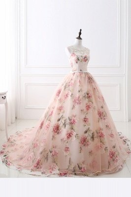 ALIA | Ball Gown Sweetheart Vintage Organza Evening Dresses With Print_2