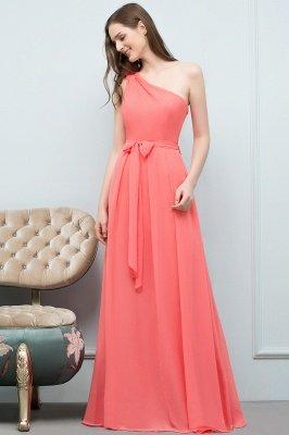 VALERIEN | A-Linie eine Schulter bodenlangen Chiffon Prom Kleider mit Bogen Schärpe_11