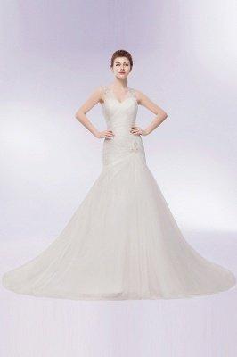 WENDY | Свадебные платья Tulle с кристаллами V-образным вырезом_11