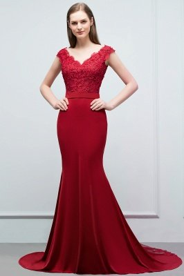 JOURNEY | Mermaid Floor Length V-neck Appliques Beads Prom Dresses with Sash_2