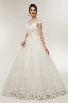 YVETTE | A-line Cap Sleeves Scoop Floor Length Lace Appliques Wedding Dresses with Crystals_6