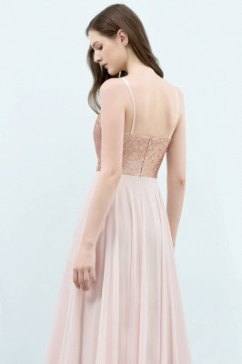 JORDYN | A-line Floor Length Spaghetti Sequined Top Chiffon Prom Dresses_6