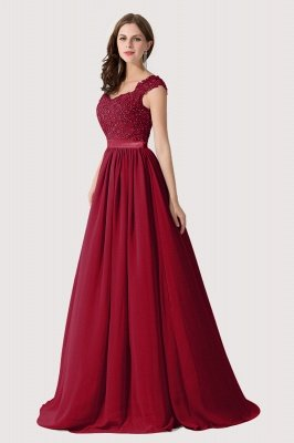 ADA | A-line V Neck Chiffon Bridesmaid Dress with Appliques_3