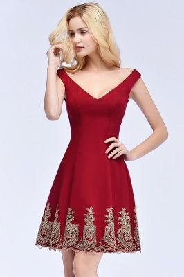 ROSE | A-line V-neck Short Off-shoulder Appliques Burgundy Homecoming Dresses