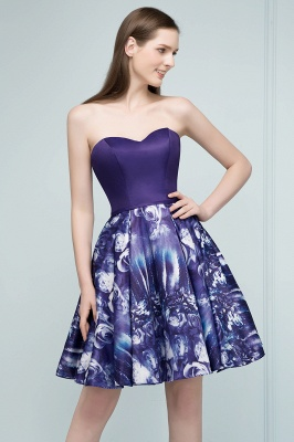 RICARDA | A-line Strapless Sweetheart Short Print Homecoming Dresses_5