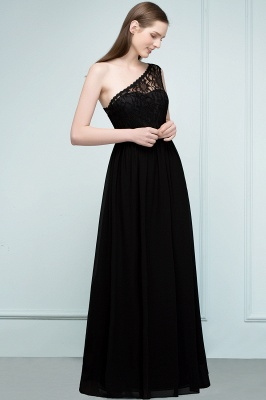 SYBIL | A-line One-shoulder Floor Length Lace Chiffon Bridesmaid Dresses with Sash