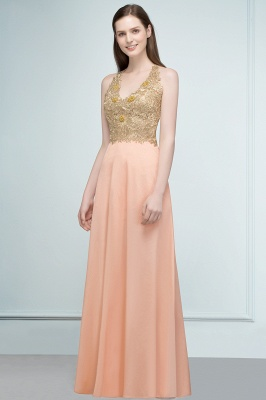 RENA | A-line Floor Length Spaghetti V-neck Appliqued Chiffon Bridesmaid Dresses_4
