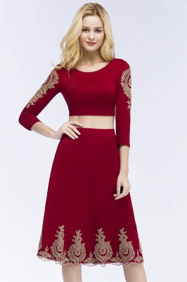 ROSAMOND | A-line Two-piece Long Sleeves Tea Length Appliques Homecoming Dresses