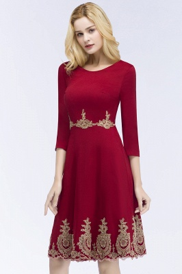ROSANNA | A-line Knee Length Burgundy Appliques Homecoming Dresses with Sleeves_2
