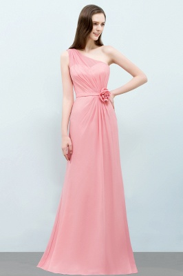SHERA | Mermaid Floor Length One-shoulder Ruffled Chiffon Bridesmaid Dresses with Flower