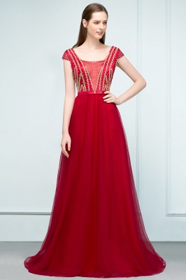 SUSY | A-line Floor Length Cap Sleeves Crystal Beading Tulle Prom Dresses with Sash_1