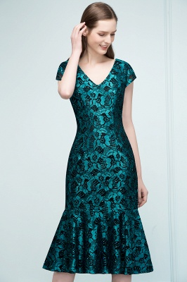 REGINA | Mermaid V-neck Tea Length Lace Appliqued Prom Dresses_9