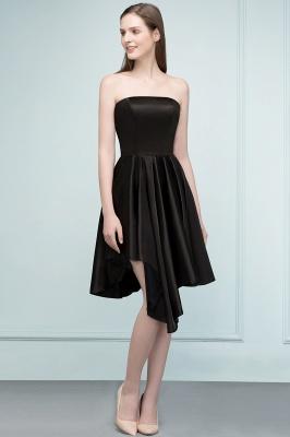 REA | A-line Strapless Short Ruffles Black Homecoming Dresses_7