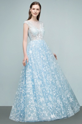 RHEA | A-line Cap Sleeves Long Appliqued Tulle Prom Dresses_1