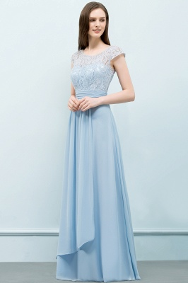SHIRLEY | A-line Long Cap Sleeves Lace Top Chiffon Bridesmaid Dresses_4