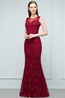 SUSAN | Mermaid Floor Length Sleeveless Lace Burgundy Prom Dresses_4