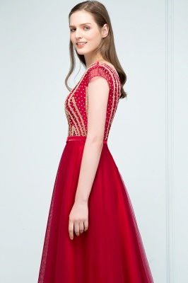SUSY | A-line Floor Length Cap Sleeves Crystal Beading Tulle Prom Dresses with Sash_6