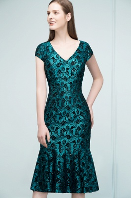 REGINA | Mermaid V-neck Tea Length Lace Appliqued Prom Dresses_5
