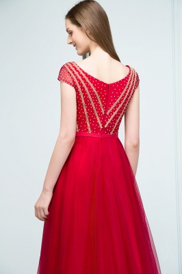 SUSY | A-line Floor Length Cap Sleeves Crystal Beading Tulle Prom Dresses with Sash_8