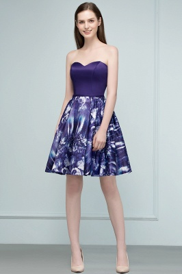 RICARDA | A-line Strapless Sweetheart Short Print Homecoming Dresses_4