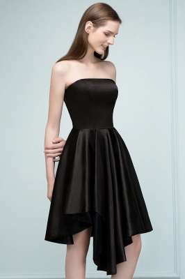 REA | A-line Strapless Short Ruffles Black Homecoming Dresses_9