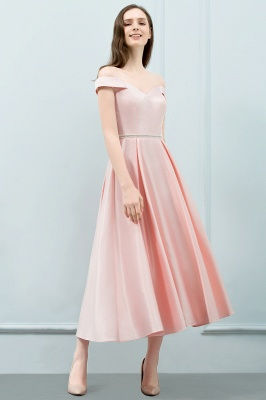 SHEILA | A-line Off-shoulder Tea Length Pink Prom Dresses with Sash_1