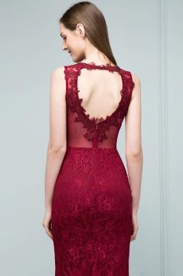 SUSAN | Mermaid Floor Length Sleeveless Lace Burgundy Prom Dresses_9