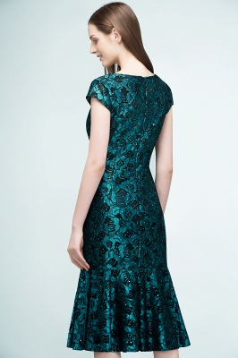 REGINA | Mermaid V-neck Tea Length Lace Appliqued Prom Dresses_8