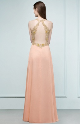 RENA | A-line Floor Length Spaghetti V-neck Appliqued Chiffon Bridesmaid Dresses_3