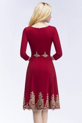 ROSANNA | A-line Knee Length Burgundy Appliques Homecoming Dresses with Sleeves_3