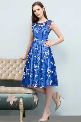 STARR | A-line Knee Length Sleeveless Flower Appliques Tulle Homecoming Dresses