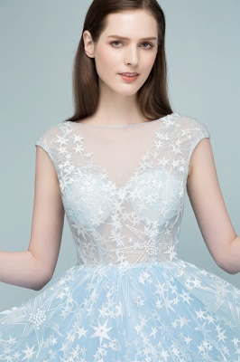 RHEA | A-line Cap Sleeves Long Appliqued Tulle Prom Dresses_8