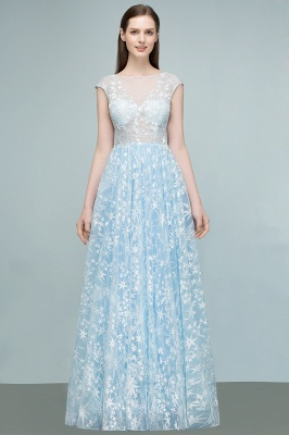 RHEA | A-line Cap Sleeves Long Appliqued Tulle Prom Dresses_7