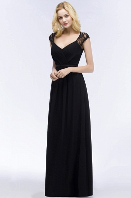 ROSALIA | A-line V-neck Floor Length Lace Chiffon Bridesmaid Dresses with Sash