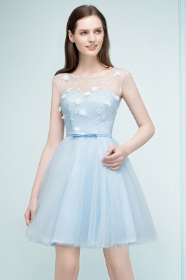 RHODA   A-line Short Appliques Tulle Homecoming Dresses with Sash_7