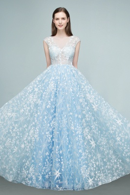RHEA | A-line Cap Sleeves Long Appliqued Tulle Prom Dresses_9