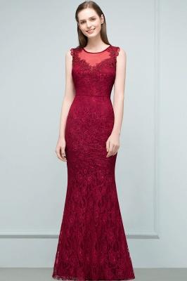 SUSAN | Mermaid Floor Length Sleeveless Lace Burgundy Prom Dresses_7