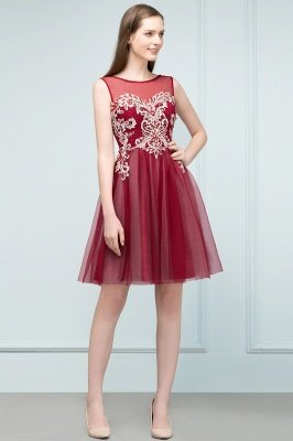 SUSANNA | A-line Short Sleeveless Appliqued Tulle Homecoming Dresses with Crystals_5
