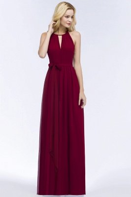 ROSALIND | A-line Halter Floor Length Burgundy Bridesmaid Dresses with Bow Sash_12