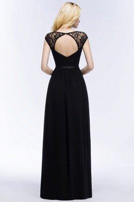 ROSALIA | Une ligne de v-cou rez-de-longueur dentelle robes de demoiselle d'honneur en mousseline de soie avec ceinture_6