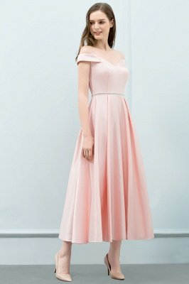 Long Pink Off The Shoulder A-Line Crystal Bridesmaid Dresses_3