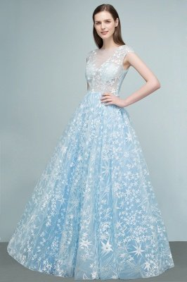 RHEA | A-line Cap Sleeves Long Appliqued Tulle Prom Dresses_4