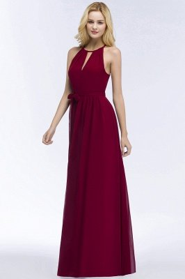 ROSALIND | A-line Halter Floor Length Burgundy Bridesmaid Dresses with Bow Sash_10